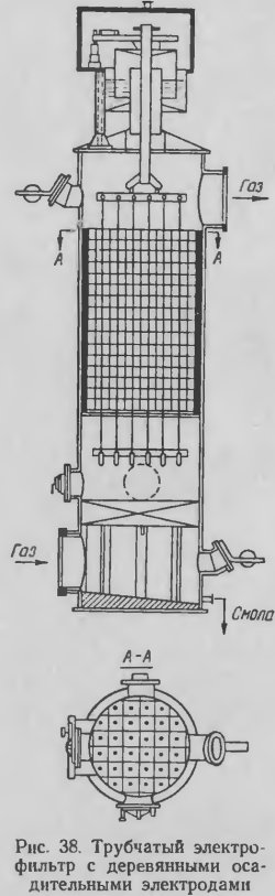 Трубчатый электрофильтр с деревянными осадительными электродами