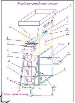 Схема упаковочного полуавтомата с весовым дозатором