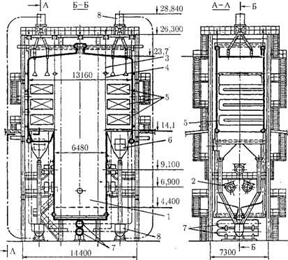 Пиковый водогрейный котел КВ-ГМ-180-150: 1 - топка; 2 - газомазутные горелки; 3 - подвеска боковых экранов, 4...