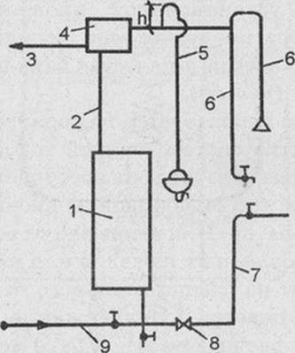 Схема совмещенного водяного квартирного отопления и горячего водоснабжения с емким водонагревателем и одноточечным.