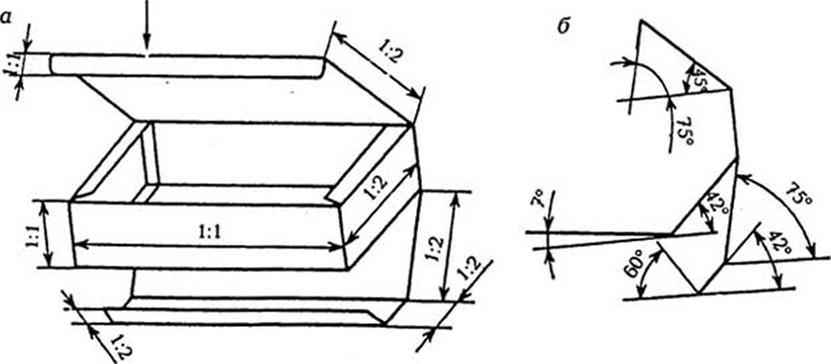 Изображение коробки (а), схемы