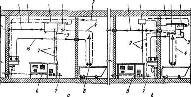 Рис. 47.  Схема квартирного водяного отопления, совмещенного с горячим водоснабжением: а - при мягкой воде; б - прн...