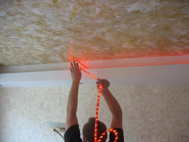 Светодиодная подсветка натяжного потолка своими руками видео