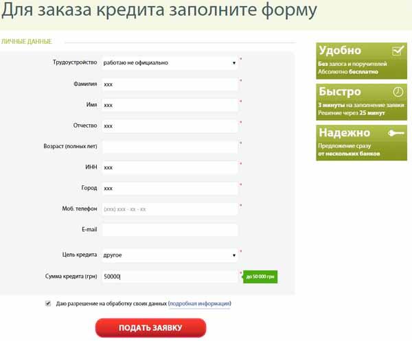 Заявки на кредит через интернет