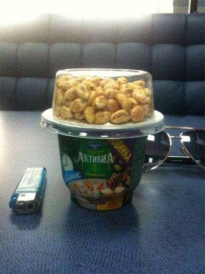 Взорванные зерна в йогурте